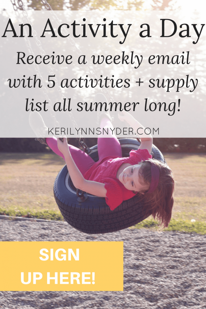 Want to have fun with your kids this summer but overwhelmed by all the ideas? I can help- sign up to receive an email full of a weekly plan every Sunday during the summer! There will be a daily activity plus supply list!