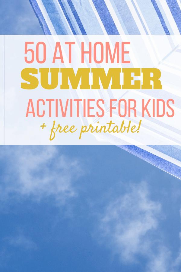 Summer activities for kids, free printable download