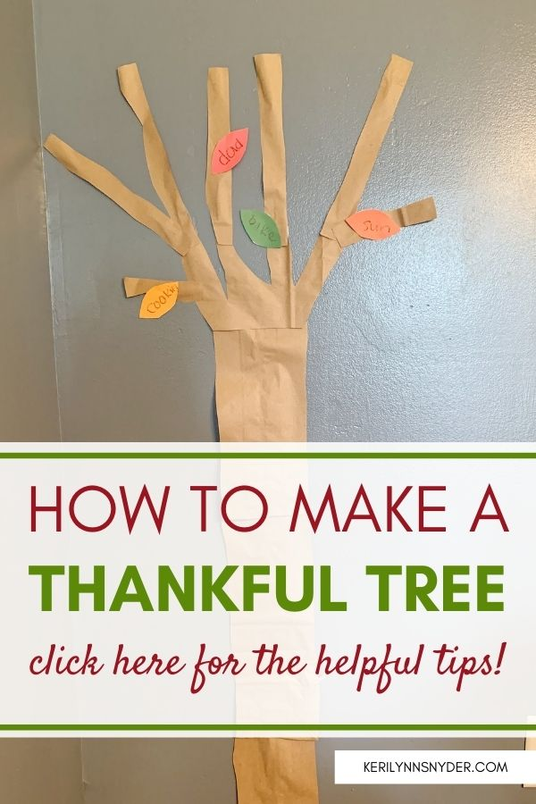 Learn how to make your own thankful tree! This activity is a great family activity to focus on thankfulness.