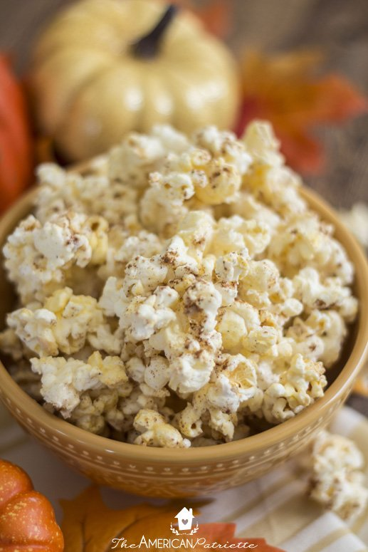 http://www.theamericanpatriette.com/three-ingredient-pumpkin-spice-popcorn/