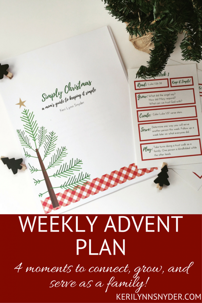 Prepare for Christmas and keep it simple with a weekly advent plan. Once a week have time to connect, grow, and serve together in simple and practical ways.