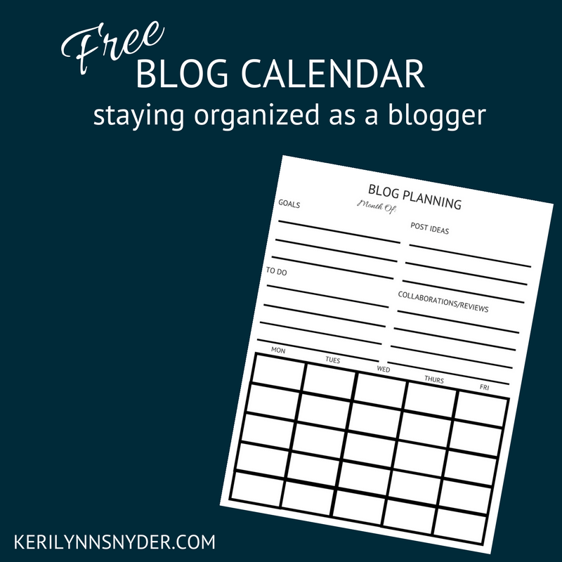 Goal Setting Tool- Stay organized as a blogger with this free blogging calendar