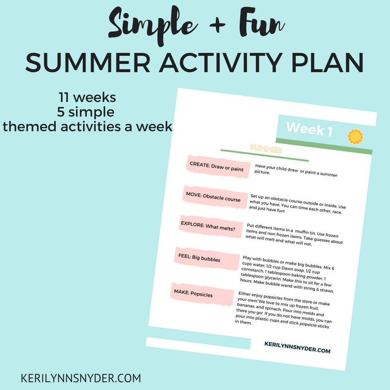 Summer Activity Plan, weekly summer activities plan