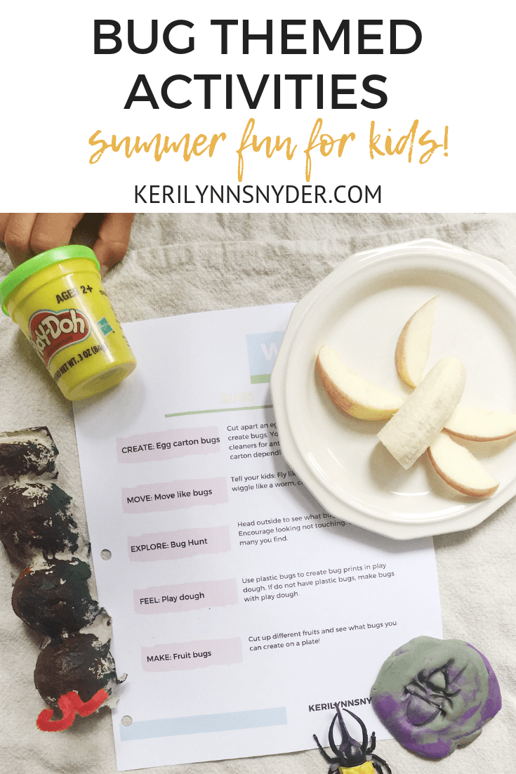 Bug themed activities for kids, summer fun