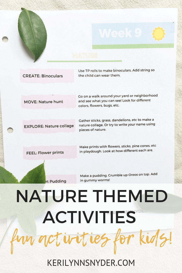 Nature themed activities for kids, summer fun, printable game