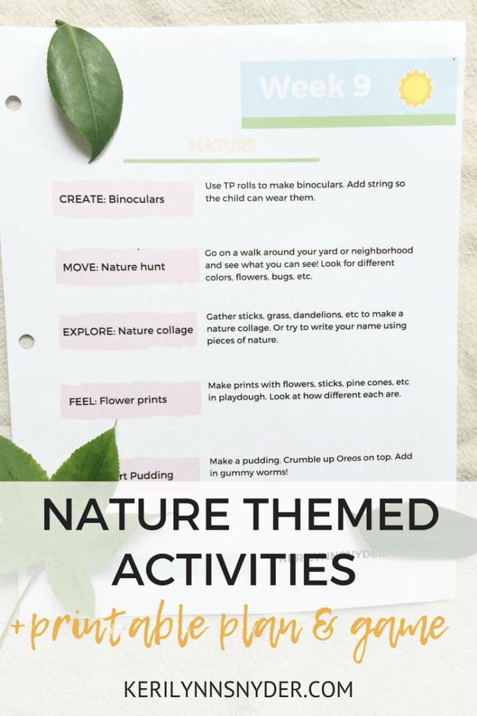 Nature themed activities, printable plan and game