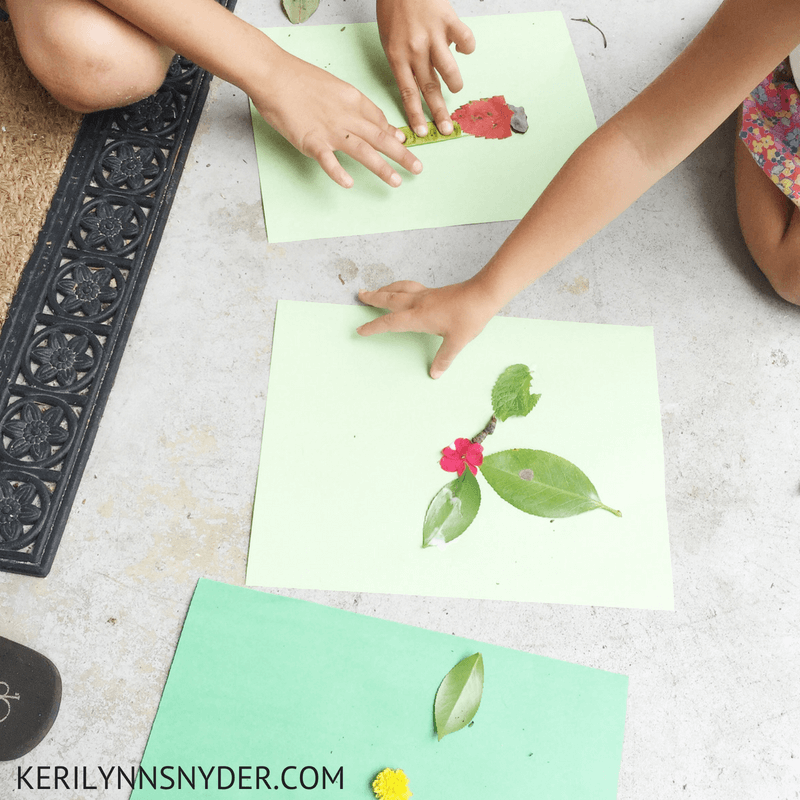 Nature themed activities, make your own nature collage, nature art
