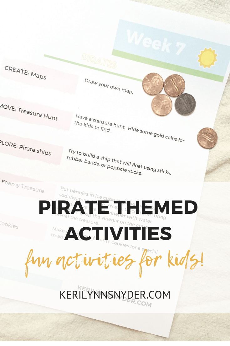 Pirate themed activities for kids, summer fun