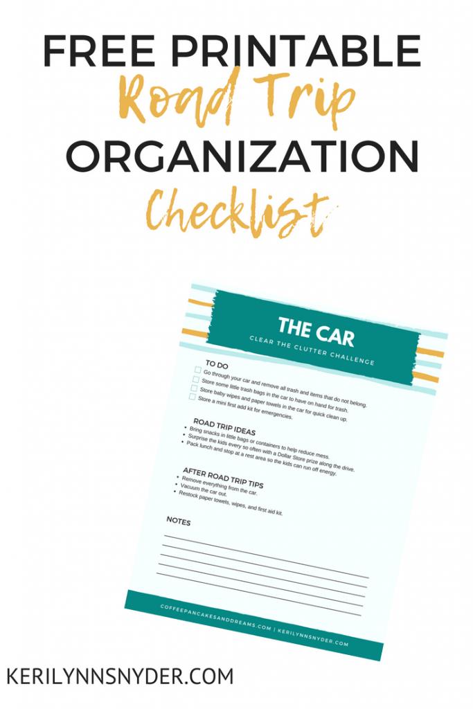 Free printable road trip organization checklist
