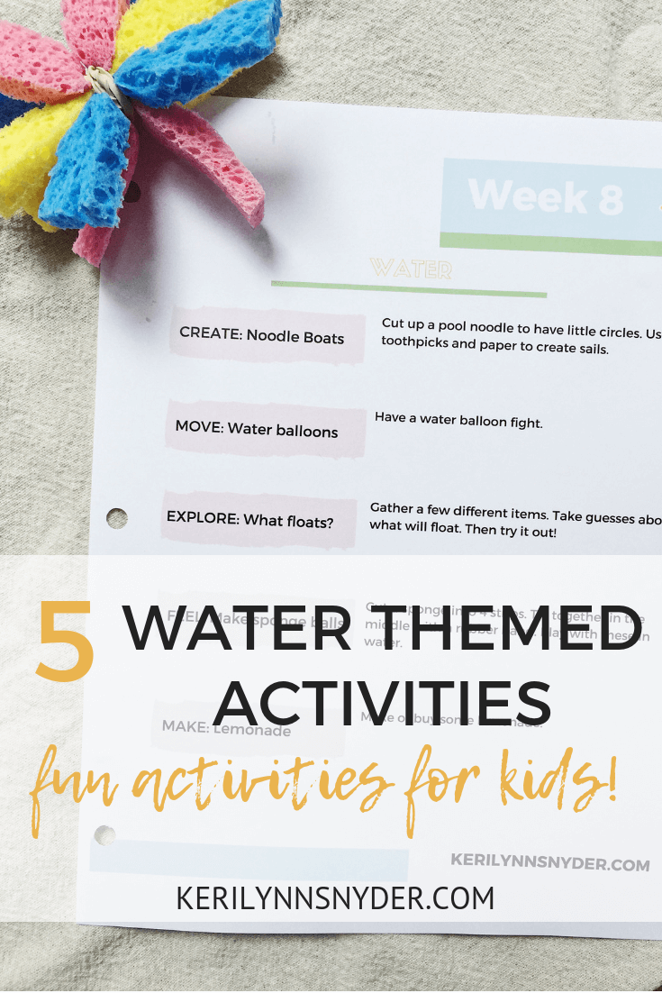 Water themed activities for kids, summer fun activities