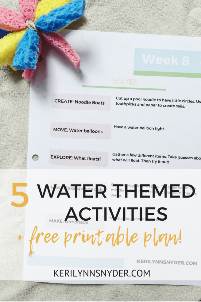 5 Water Themed Activities, Fun and Easy activities for kids, free printable activity plan
