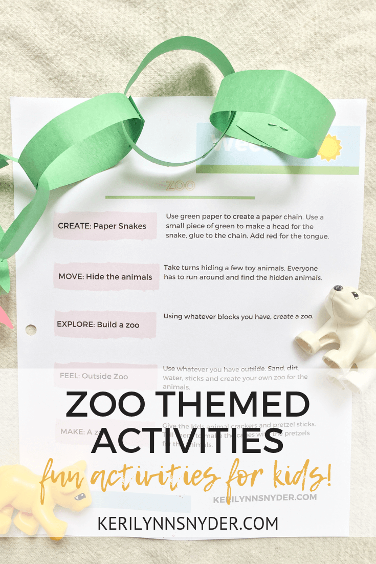 Zoo themed activities for kids, summer fun plan