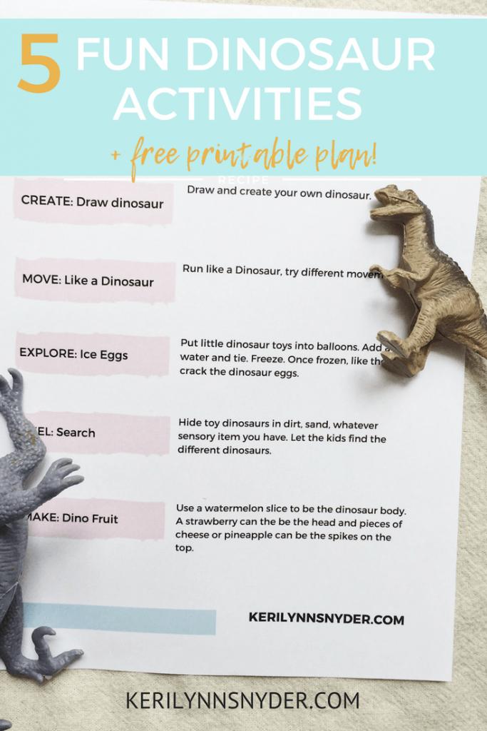 5 fun dinosaur themed activities for kids, free printable plan
