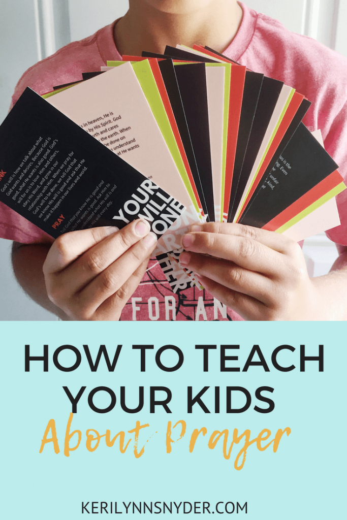 How to teach your kids about prayer, interactive prayer cards, The Lord's Prayer from Keri Lynn Snyder lifestyle Blog