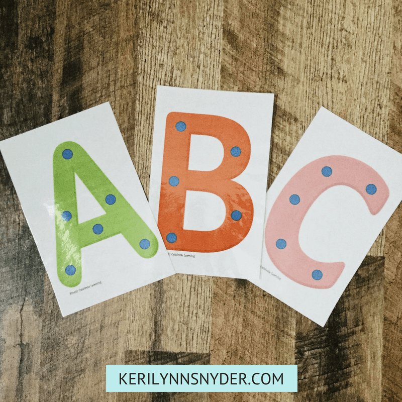 Preschool At Home Tools, ABC Cards for Preschool, from Keri Lynn Snyder lifestyle blog