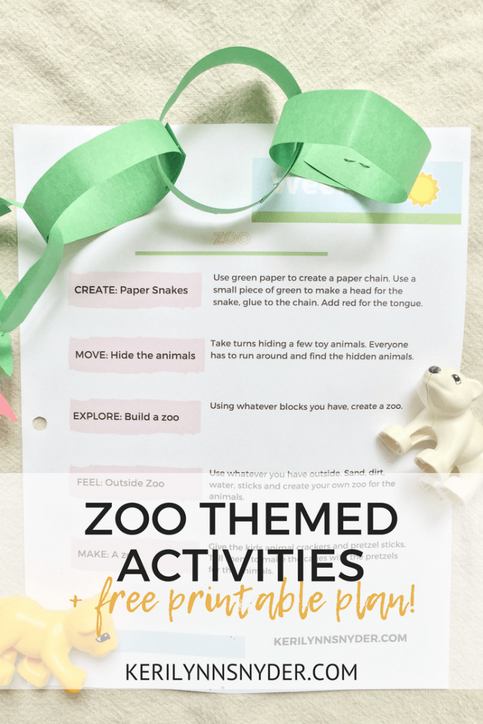 Zoo themed activities, free printable plan, 5 fun zoo themed ways to play