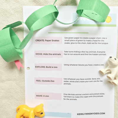 Zoo themed activities, free printable plan
