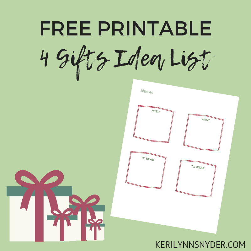 Christmas shopping- four gifts rule printable