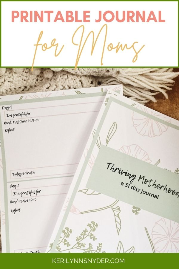 Get the free 31 day printable journal for moms