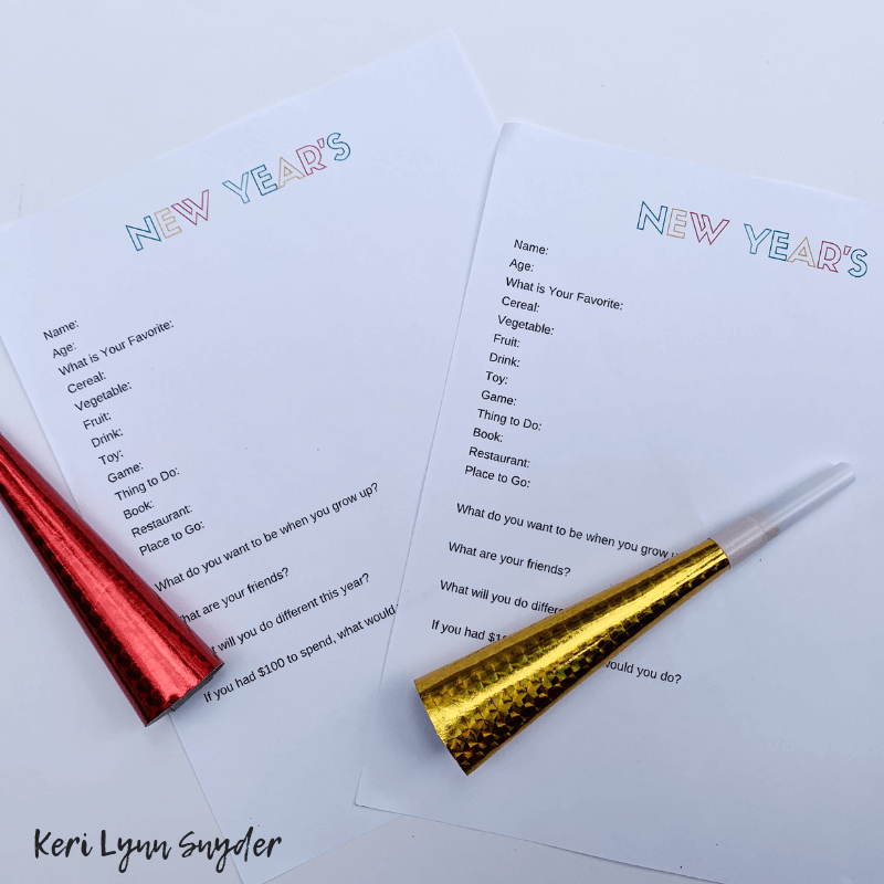 New Year's Eve Family Activities, Yearly Interview for Kids, Printable, Keri Lynn Snyder, Lifestyle Blog