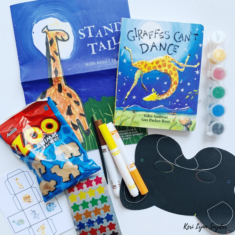 Kids Night in Box family activities including book and art supplies perfect for family night