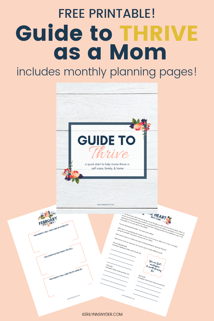 Guide to Thrive as a Mom, Printable pages to help you cultivate what matters. Monthly planning pages to help you thrive. Grab your free printable pages!