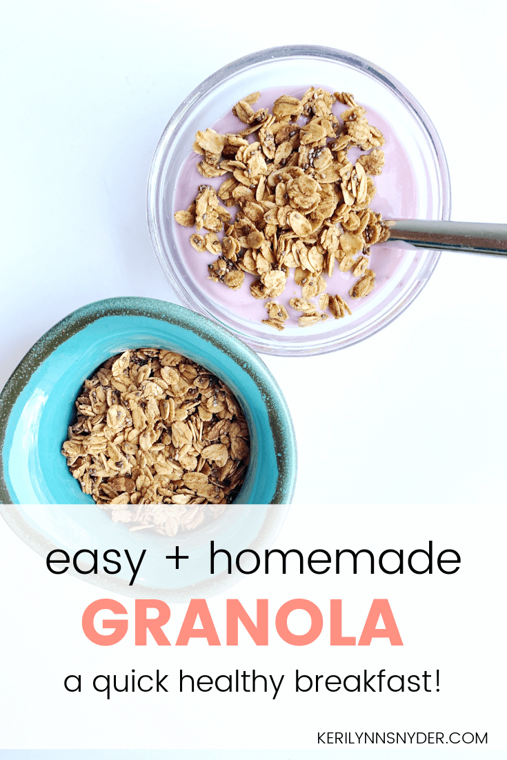 Easy homemade granola, healthy breakfast, on-the-go breakfast, perfect for busy moms