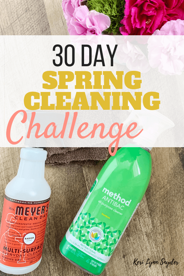 Join the 30 day spring cleaning challenge. Get the free printable.