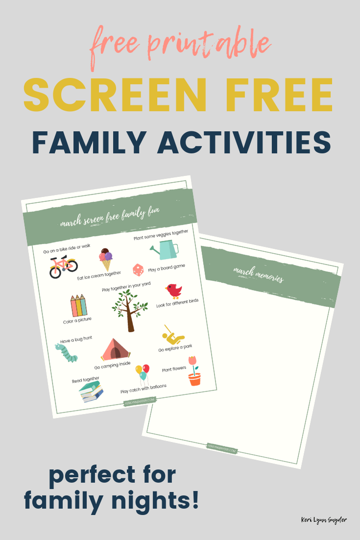 Screen free family fun for families, free printable list of activities for families