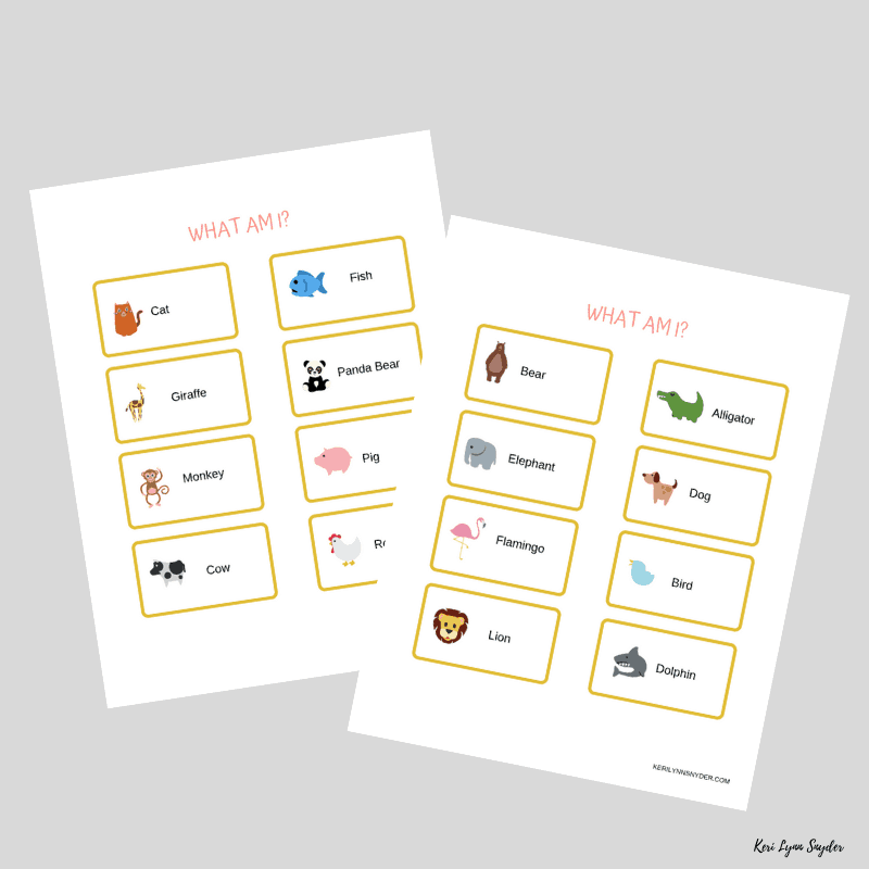 image about Game Pieces Printable titled What am I Printable Activity for People - Keri Lynn Snyder
