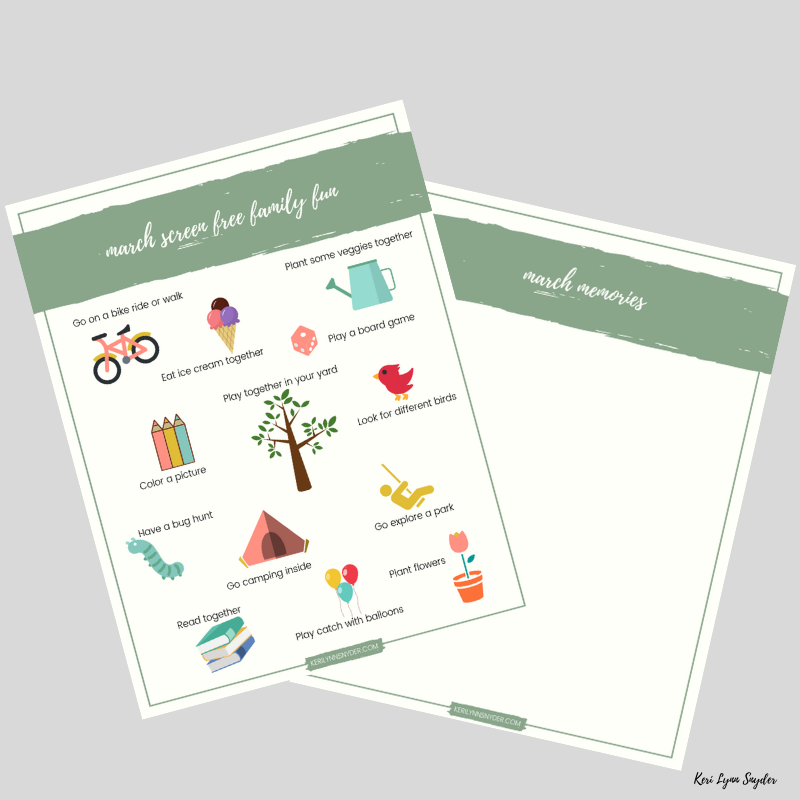 Screen Free Family Fun Activities, Free Printable of Family Fun Activities