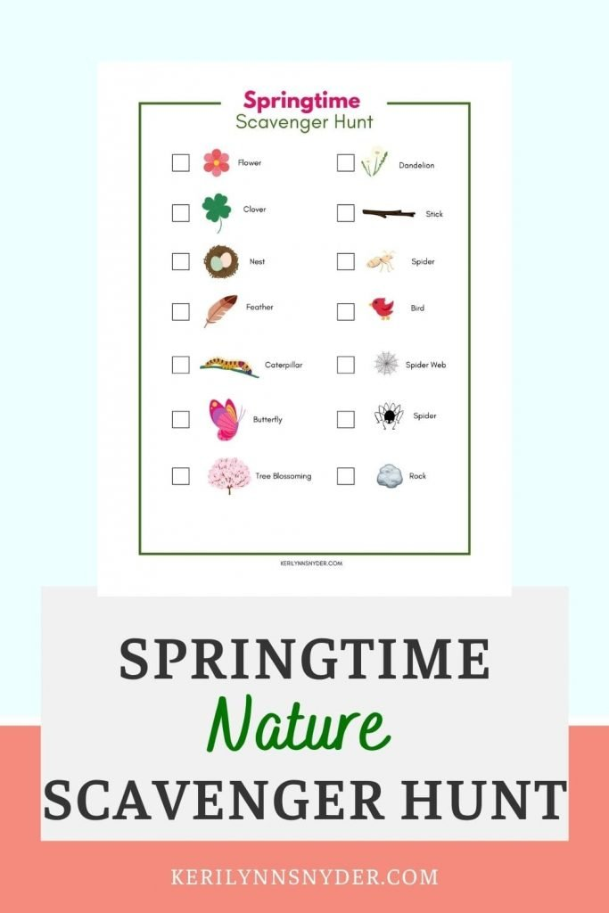 Have fun this spring with a spring backyard or neighborhood scavenger hunt! Get the free printable!