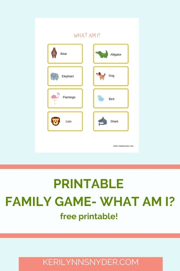 Have family fun with the printable What am I game! It is perfect for family night.