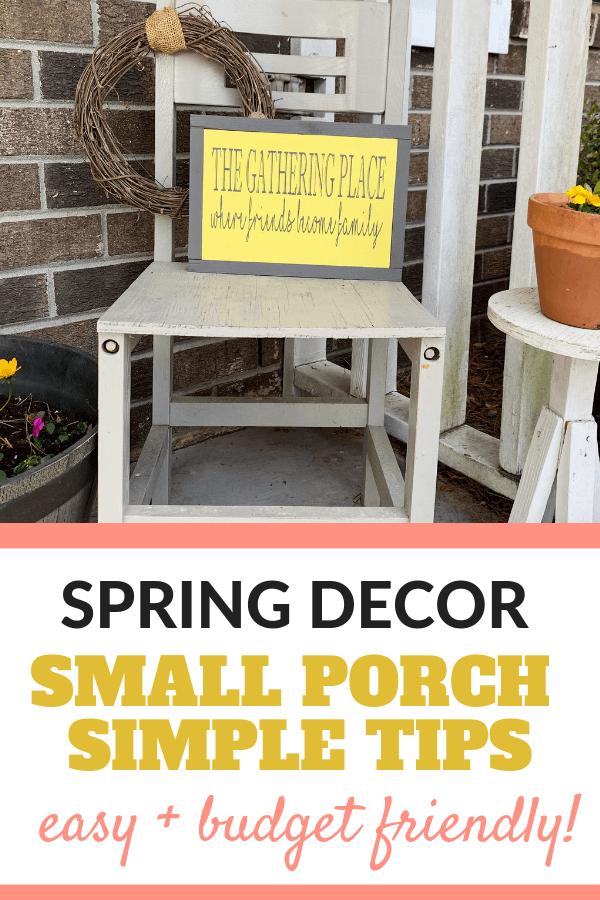 Small front porch spring decor