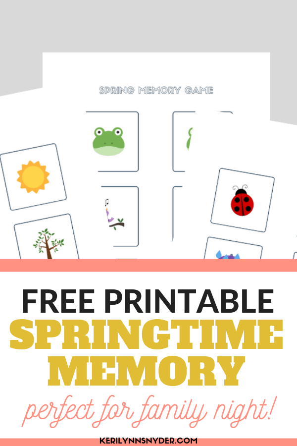 Free Printable Springtime Memory Game, great for family nights!