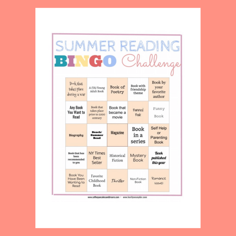 Summer Reading Bingo Challenge, a reading challenge for moms
