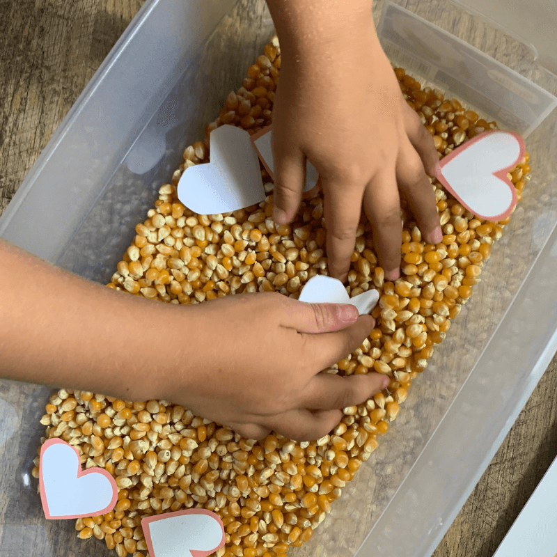 Hands on Bible activity teaching kids about Joseph with sensory bin.