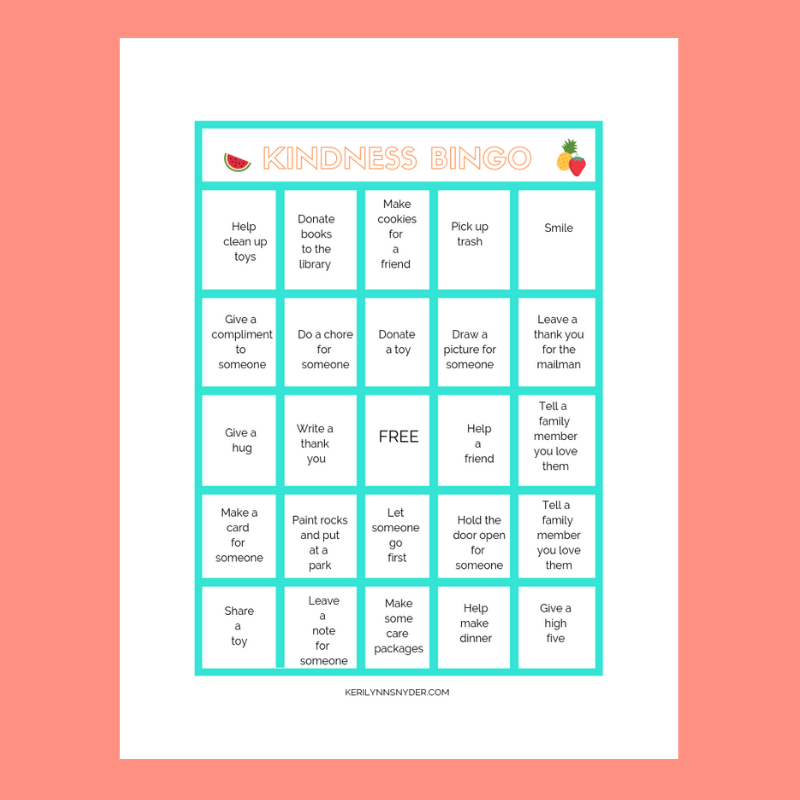 Intentional Summer Activities- Kindness Bingo will help you and your kids serve others.