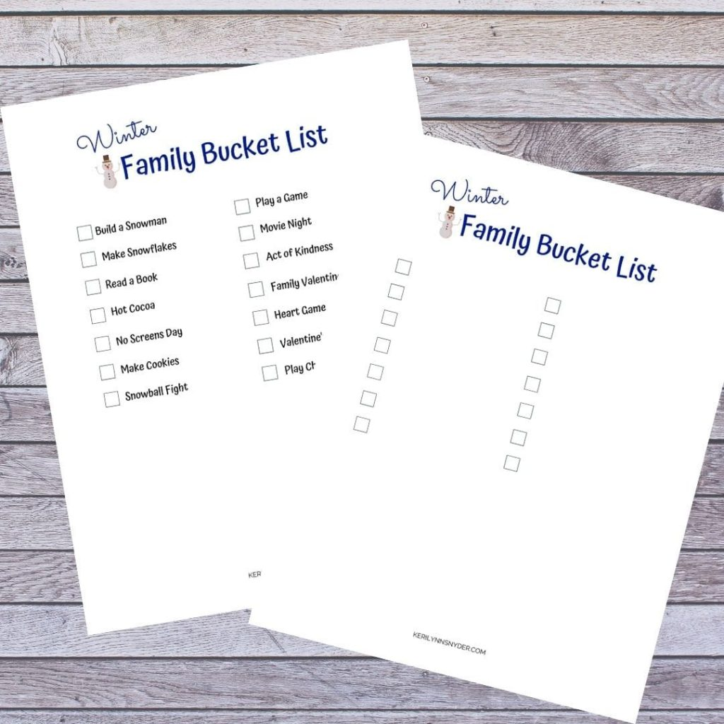 Get the winter bucket list to use with your family!