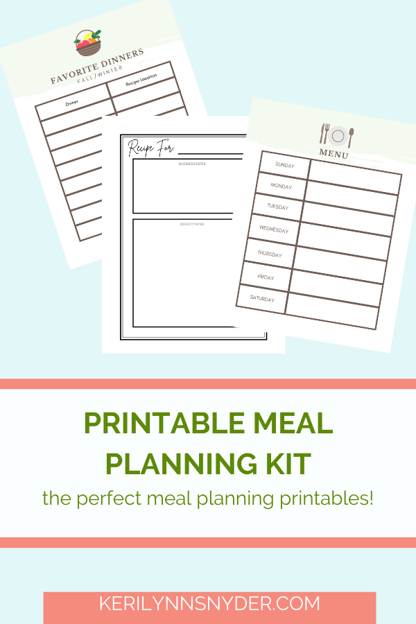 Use these meal planning printables to help you with meal planning!