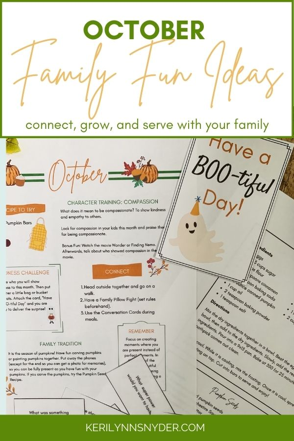 Have regular family time with the October Family Connection Guide. Fun ideas for family fun in October.