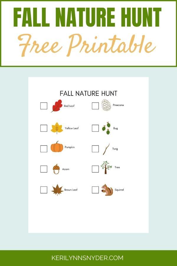 Fall Nature hunt Printable