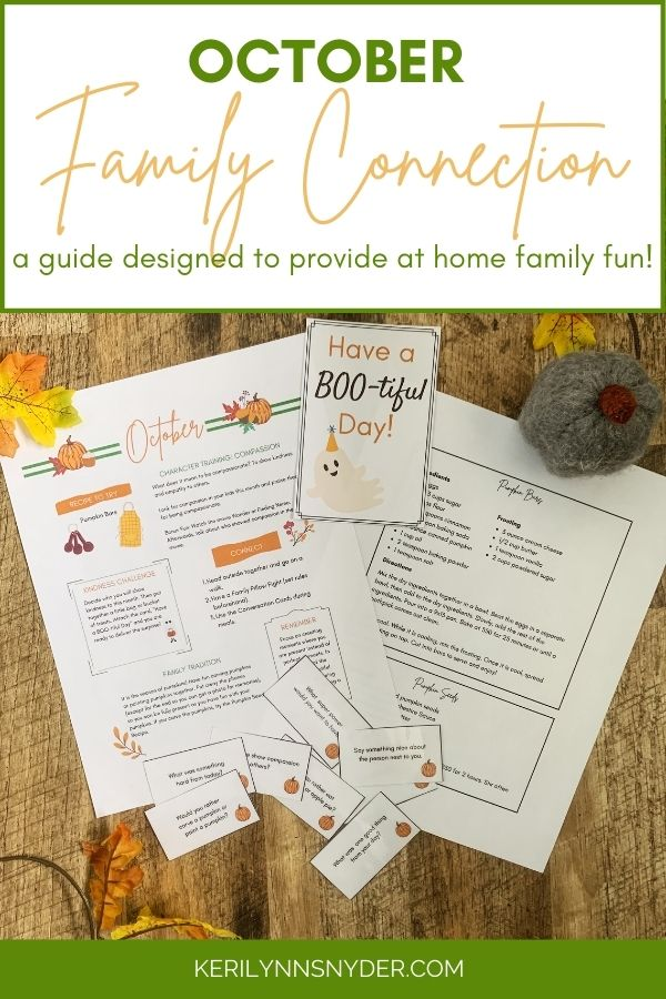 October Family Connection Guide- A Monthly guide complete with ideas for family time.