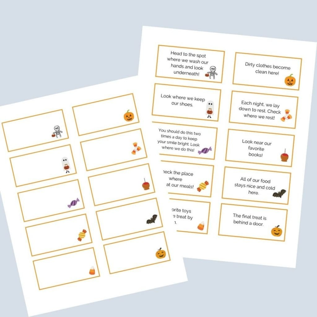 Have fun racing around the house with the Halloween Candy Scavenger Hunt! Use the free printable cards.