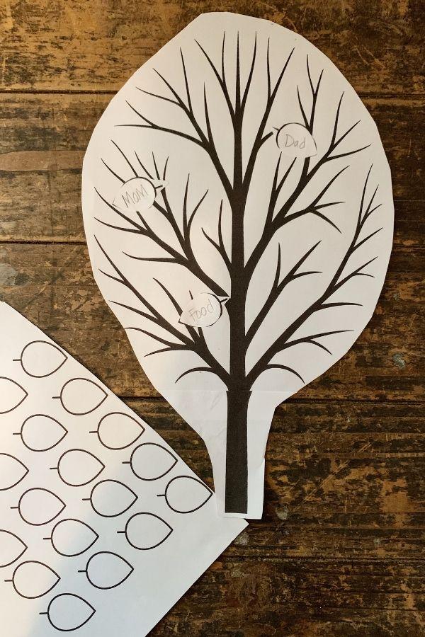 Thankful Tree Outline