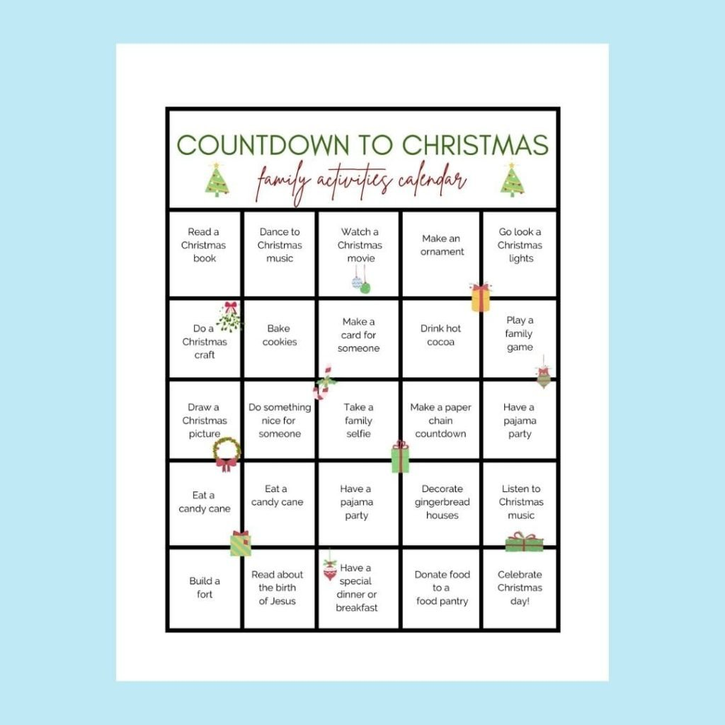 Use this countdown calendar to countdown to Christmas!