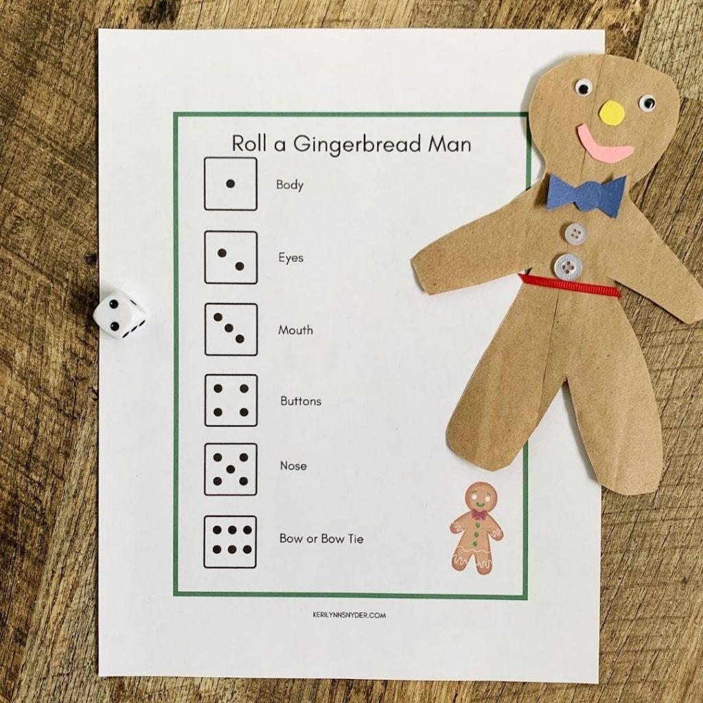 Get the Roll a Gingerbread Man game for some at home family fun!