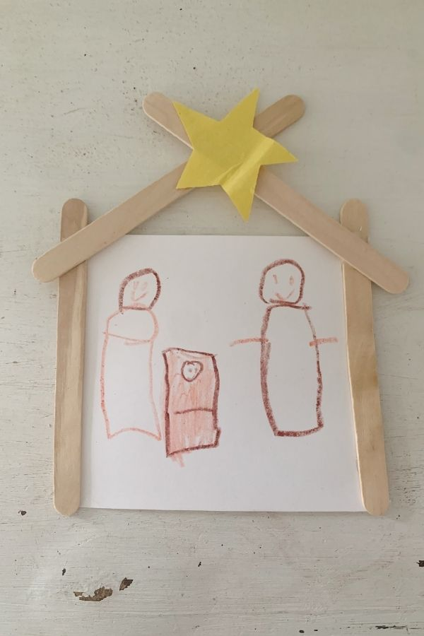 Learn how to make this easy nativity ornament with your kids!