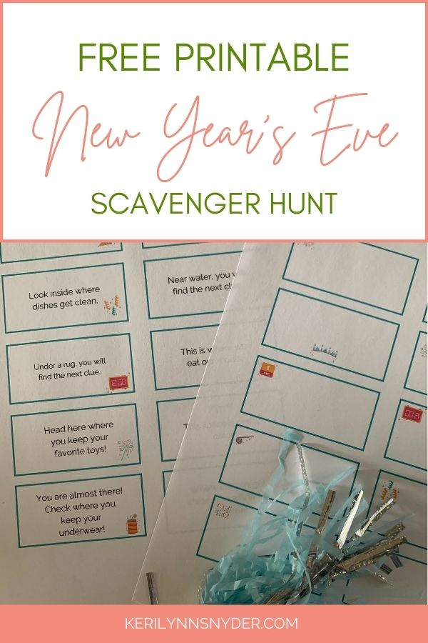 Have a New Year's Eve Scavenger Hunt with your kids at home! Get the free printable clues to use!
