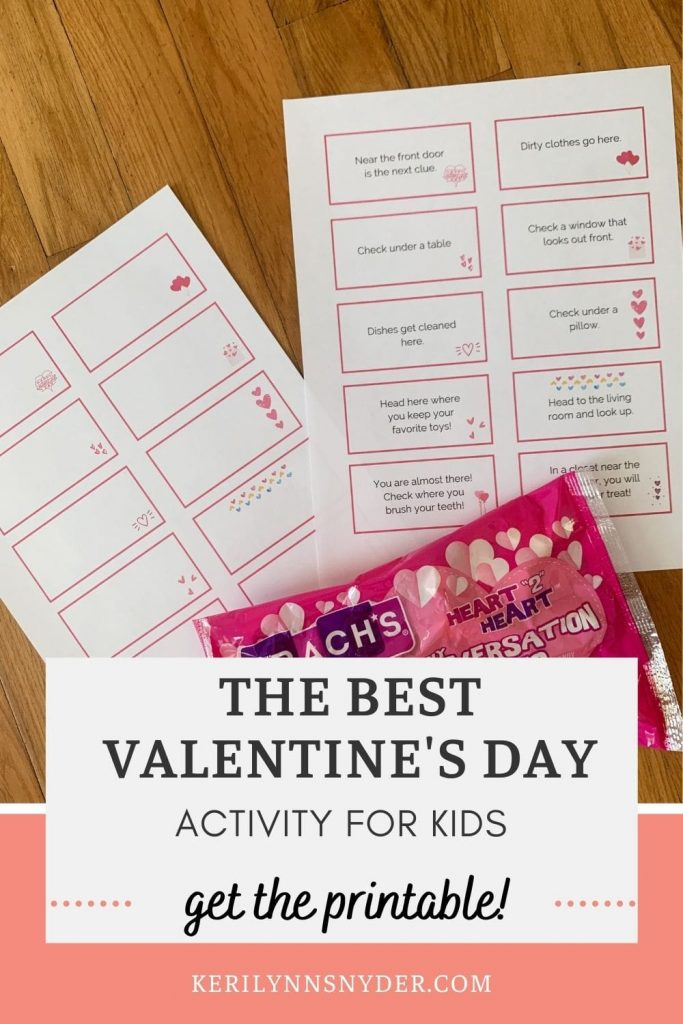 Use the printable Valentine's Day scavenger hunt cards to have fun at home with your kids